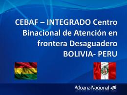 El control integrado de desaguadero entre Perú y Bolivia (CEBAF)