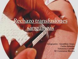 Rechazo transfusiones sanguíneas