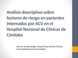 Análisis descriptivo sobre factores de riesgo en pacientes