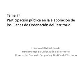 Tema 7º Participación pública en el proceso de planificación