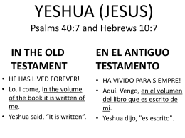 YESHUA IN THE OLD TESTAMENT