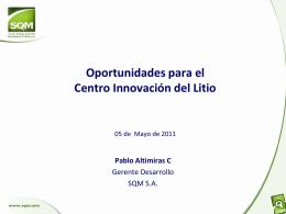 Oportunidades para el Centro Innovación del Litio