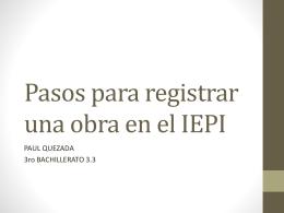 Pasos para registrar una obra en el IEPI