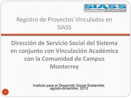 Registro de Proyectos Vinculados en SIASS Vinculación