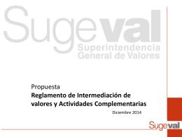 Presentación al CONASSIF de la propuesta del Reglamento de