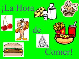 Escriba los nombres de las comidas y bebidas