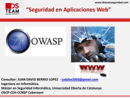 """www.dsteamseguridad.com """"Seguridad en Aplicaciones Web"""""""
