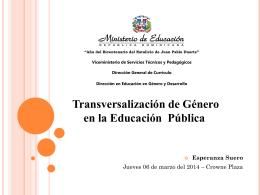 Transversalización de Género en la Educación Pública