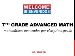 ms. Kuper*s 7th grade PRE-ALGEBRA class 2014
