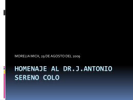 HOMENAJE AL DR.J.ANTONIO SERENO COLO
