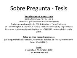 PREGUNTA Y TESIS 2012