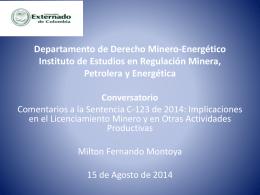 Departamento de Derecho Minero-Energético Instituto de Estudios