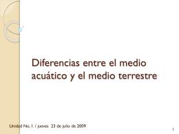 Diferencias entre el medio acuático y el medio terrestre
