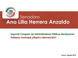 Senadora Ana Lilia Herrera Anzaldo Presidenta