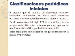 Clasificaciones periódicas iniciales