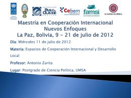 Espacios de Cooperación Internacional y Desarrollo Local (Sesión 1)