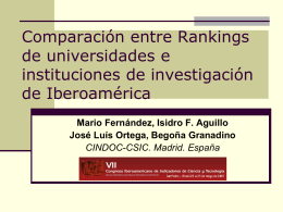 Comparación entre Rankings de universidades e instituciones