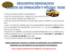 requisitos renovacion tarjeta de operación y pólizas taxis