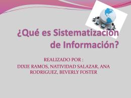 ¿Qué es Sistematización de Información?