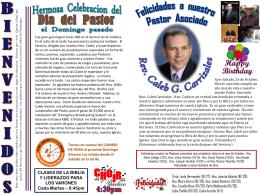 Felicidades a nuestro Pastor Asociado Rev. Caleb G. Carrizales