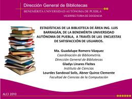 ESTADÍSTICAS DE LA BIBLIOTECA DE ÁREA ING. LUIS