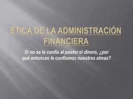 Ética de la administración financiera