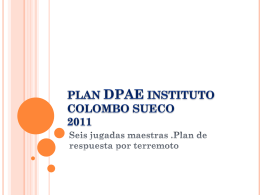 PLAN DPAE INSTITUTO COLOMBO SUECO 2011 Seis