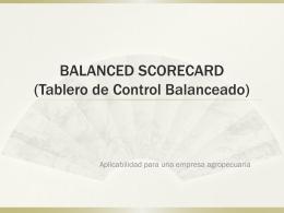 BALANCED SCORECARD (Tablero de Control Balanceado)