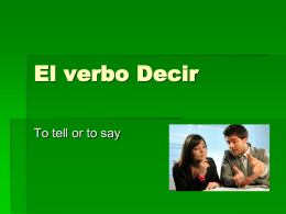 El verbo Decir - Red Hook Central School District