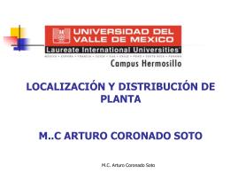 localización y distribución de planta m..c arturo coronado soto