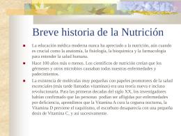 Breve historia de la Nutrición