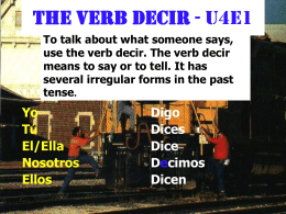 The Verb Decir