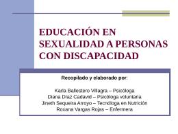 EDUCACIÓN EN SEXUALIDAD A PERSONAS CON