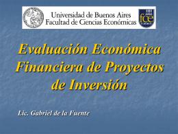 EVALUACIÓN ECONÓMICA FINANCIERA DE PROYECTOS DE