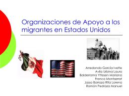Organizaciones de Apoyo a los migrantes en Estados