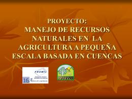 PROYECTO: MANEJO DE RECURSOS NATURALES EN LA
