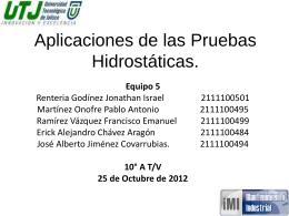 Aplicaciones de las Pruebas Hidrostáticas.