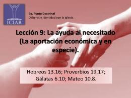 Lección 9: La ayuda al necesitado (La aportación
