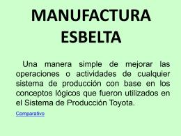 ¿QUE ES LA MANUFACTURA ESBELTA ? La manufactura