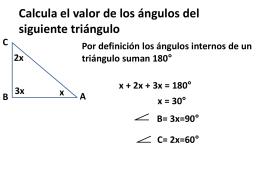 Calcula el valor de los ángulos del siguiente