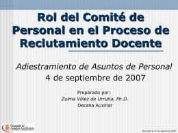 Rol del Comité de Personal en la Contratación