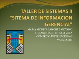 "TALLER DE SISTEMAS II ""SITEMA DE INFORMACION"