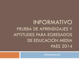 Informativo Prueba de Aprendizajes y Aptitudes