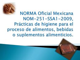 NORMA Oficial Mexicana NOM-251-SSA1