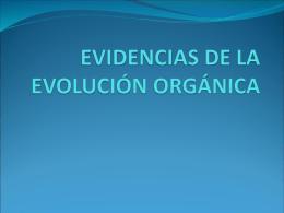 EVIDENCIAS DE LA EVOLUCIÓN ORGÁNICA