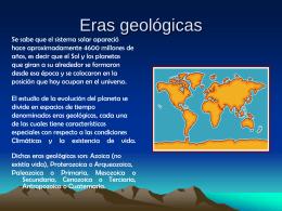 Eras geológicas - Semillero de Bioquimica INEM