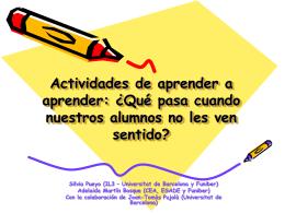 Actividades de aprender a aprender: ¿Qué pasa
