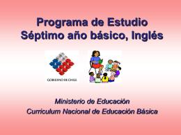 Programa de Estudio Séptimo año básico, Inglés