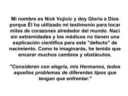 Mi nombre es Nick Vujicic y doy Gloria a Dios