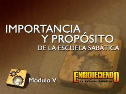 Importancia y propósito de la Escuela Sabática